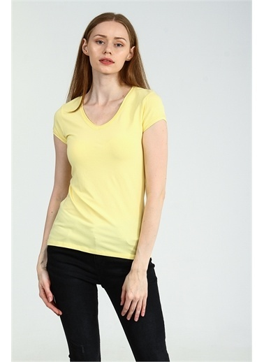 Collezione Sarı V Yakalı Kısa Kollu Basic Kadın Tshirt Sarı